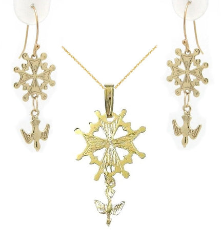 Small Huguenot Cross Bundle in 14K Gold