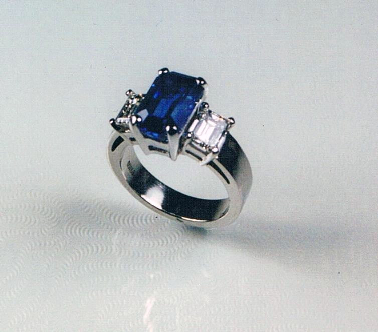 Blue Sapphire and Diamond in Platinum Ring