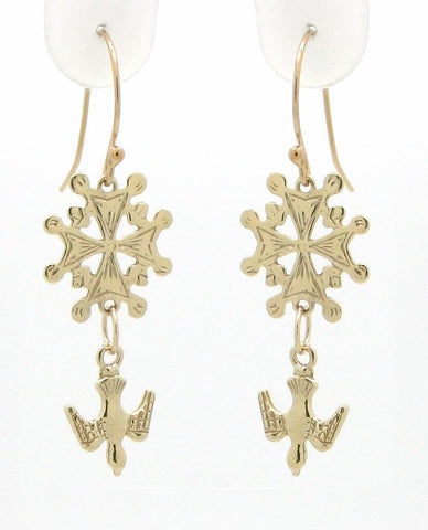 Petite Huguenot Cross Dangle Earrings
