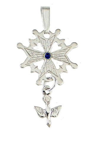 Sterling Silver Birthstone Huguenot Cross