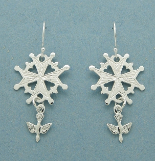 Small Huguenot Cross Earrings