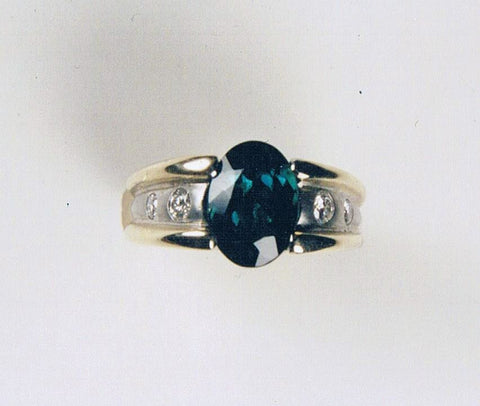 Indicolite and Diamond Ring