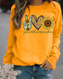 Printed Round Neck Long Sleeve Sweater