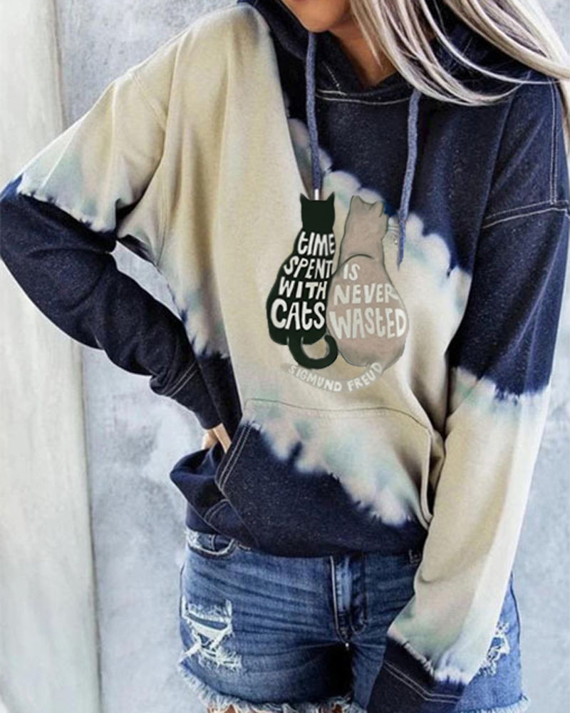 Cat Back Print Hooded Long Sleeve Sweatshirt