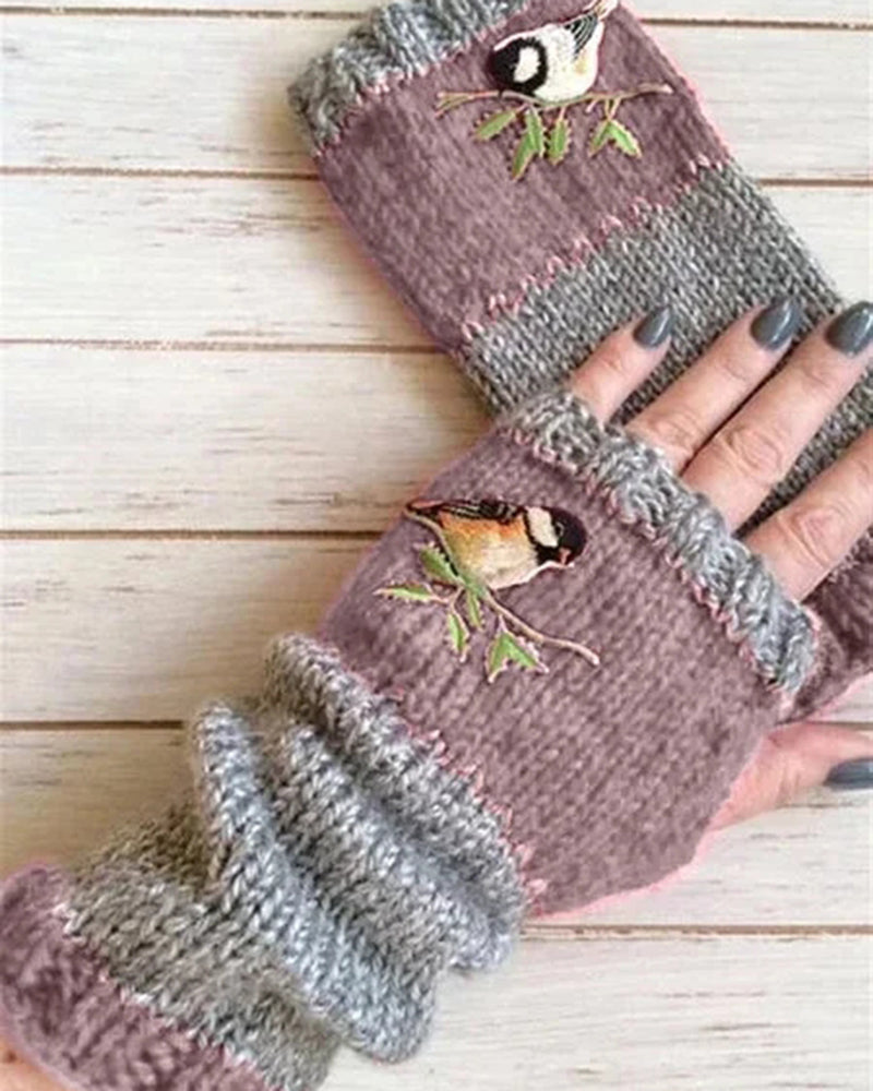 Women Casual Floral Knitted Autumn Winter Gloves Mitten
