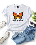 Girl Power Letter Butterfly Print Tops