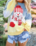 Rainbow Gradient Christmas Snowman Sweater