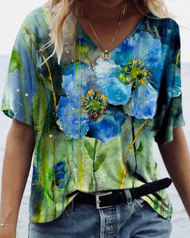 Landscape floral print short sleeve top