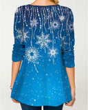 Christmas Snowflake Print Round Neck Long Sleeve T-shirt