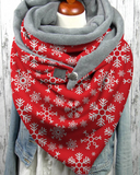 Christmas Snowflake Print Thick Warm Shawl