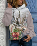 Elk Hooded Long-sleeved Printed Sweatshirt