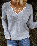 V-neck Knitted Cute Pullover Sweater