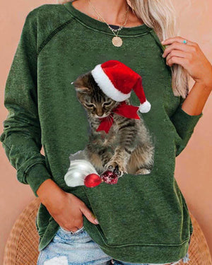 Round Neck Long Sleeve Loose Christmas Cat Print Sports Sweatshirt