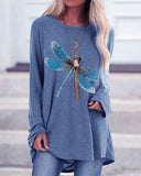 Dragonfly Print Loose Long Sleeve Top