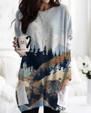 Loose Printed Long-sleeved Pocket T-shirt