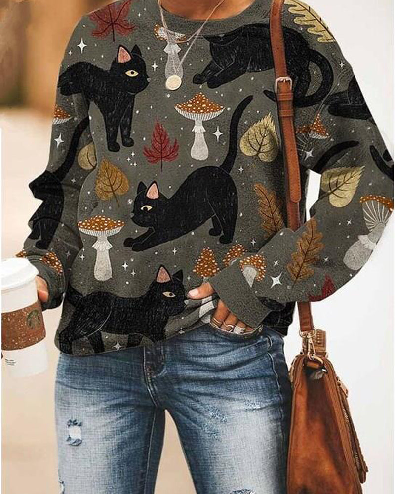 Round neck loose cat print sweater