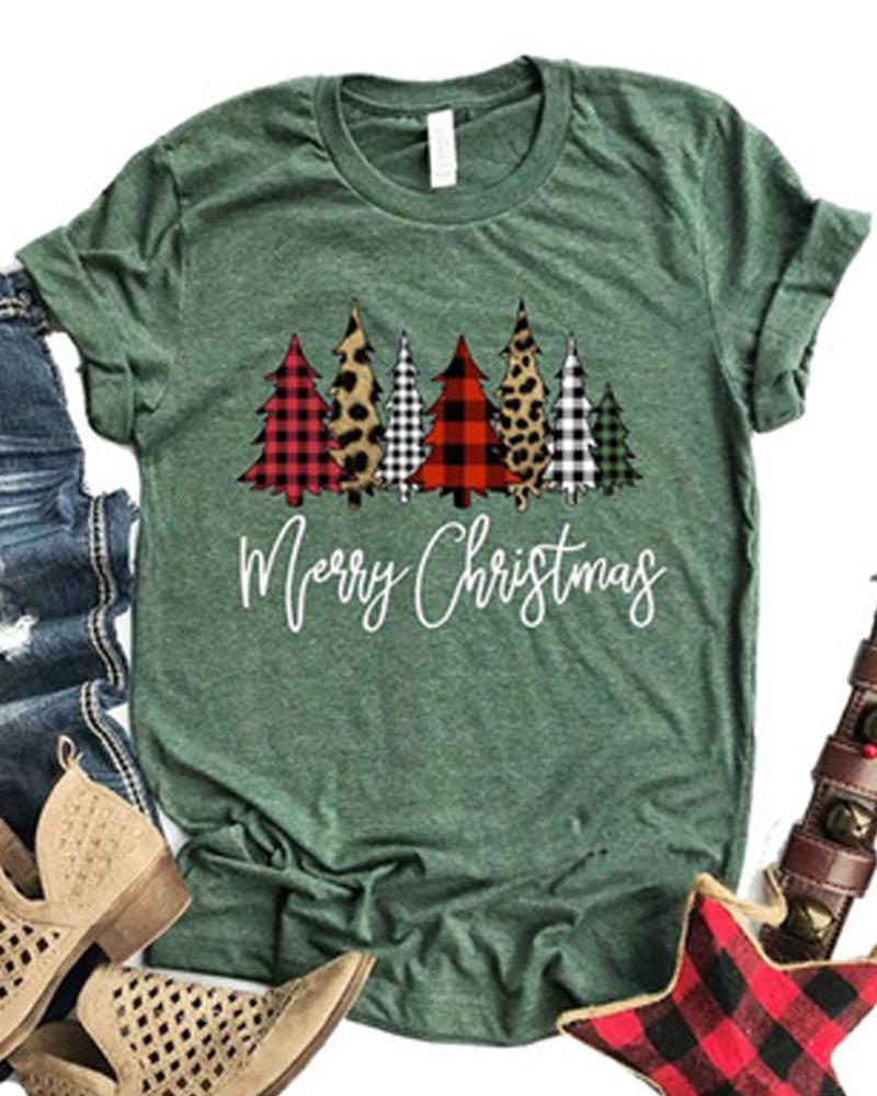 Merry Christmas Tree Print Round Neck T-shirt