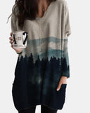 V-neck Printed Irregular Hem Long Sleeve Top