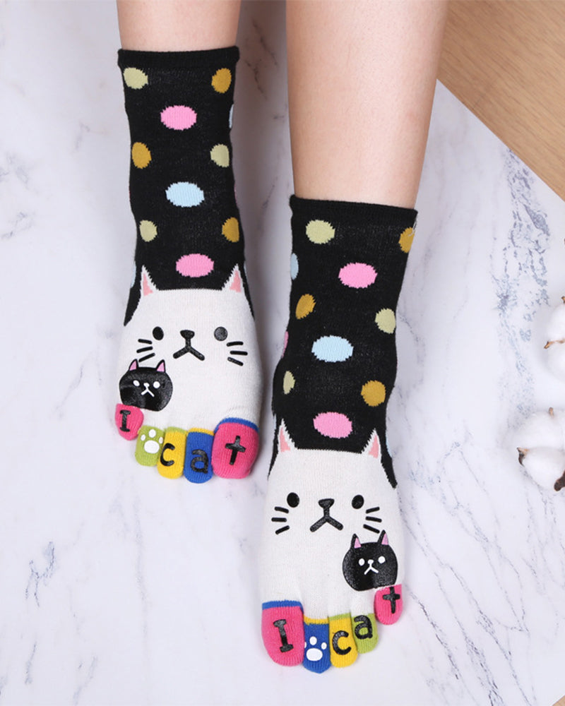 Women's Cute Animals Socks for Girls Funny Funky Novelty Five Finger Socks