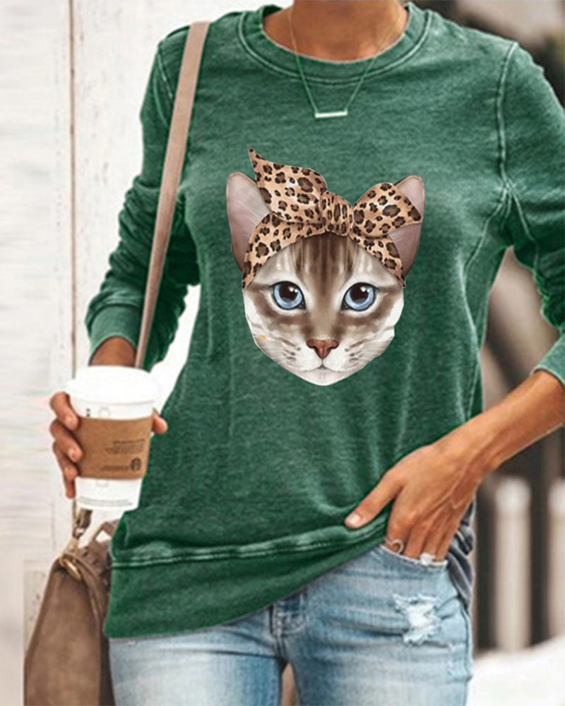 Cat Print Round Neck Long Sleeve Loose Casual T-Shirt