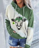 Bull Head Christmas Print Long Sleeve Sweatshirt