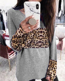 Round Neck Leopard Print Long Sleeve T-shirt