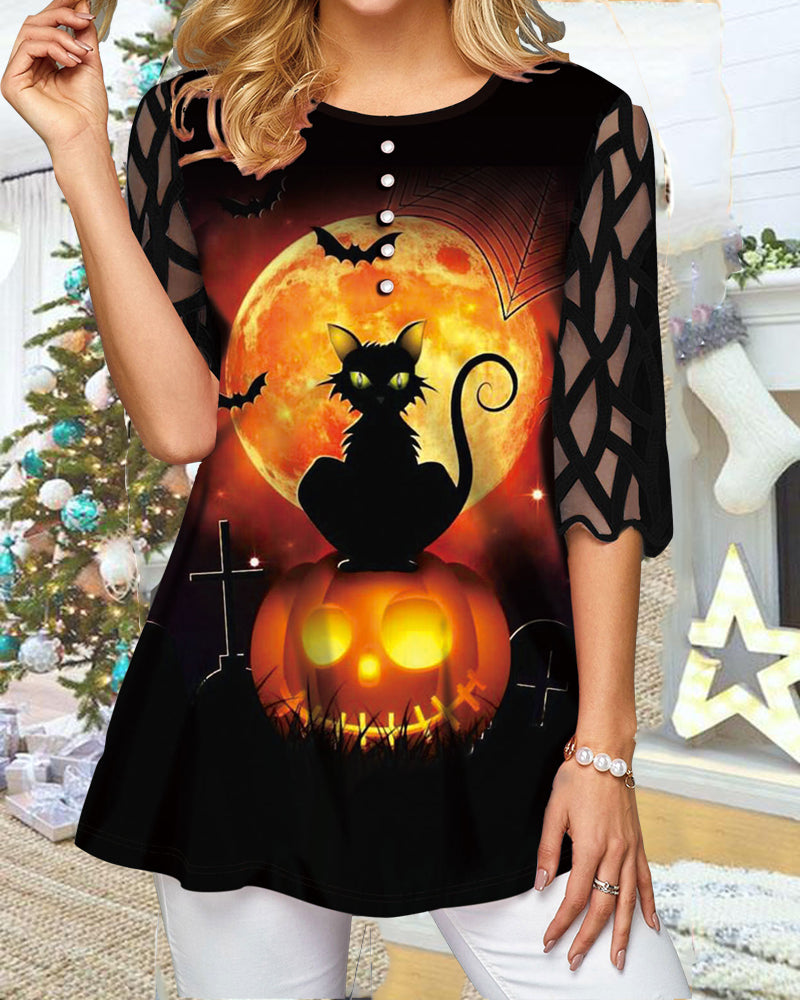 Halloween Print Lace Sleeve Top