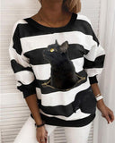 Cat Print Pullover Round Neck Casual Sweater