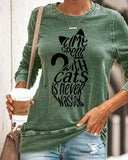 Novelty Cat Print Casual Loose Blouse