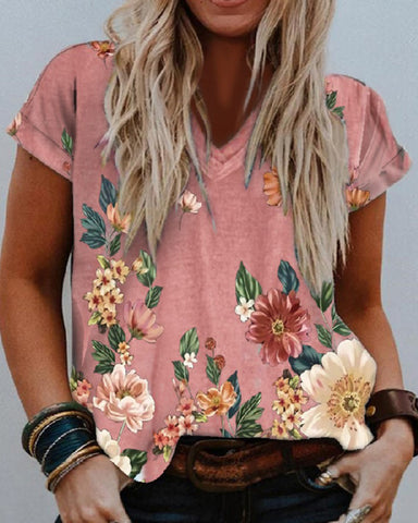 V-neck Floral Print Loose Short Sleeve T-shirt