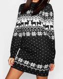 Christmas Print Round Neck Long Sleeve Dress