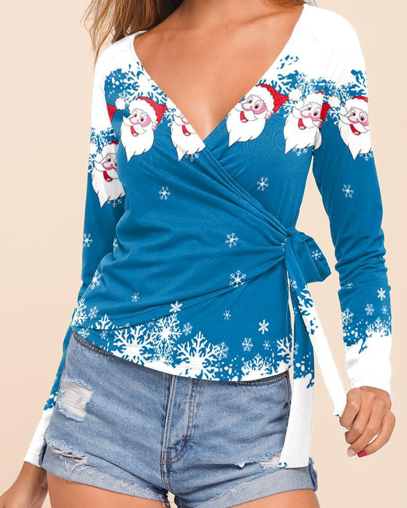 Christmas Print Long Sleeve V-neck T-shirt