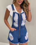 Fashionable Ripped Denim Suspenders Jumpsuit