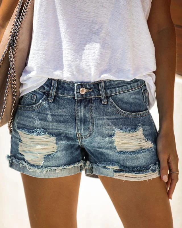 Chicros Fashionable Wild Broken Denim Shorts