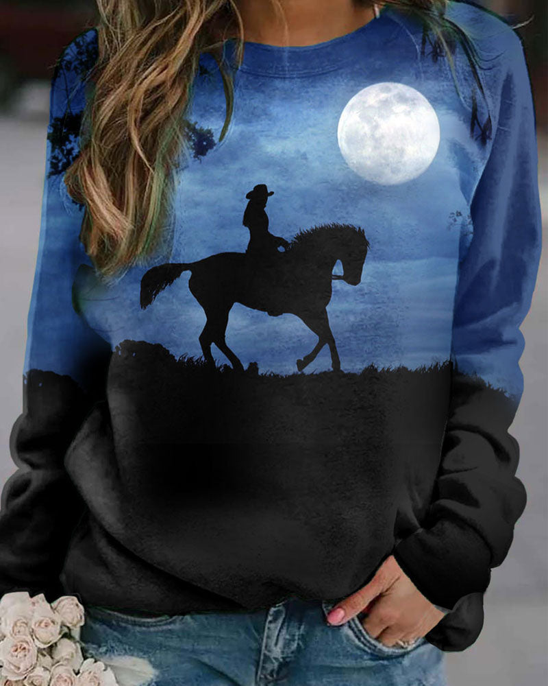 Round Neck Long Sleeve Printed Women's Top