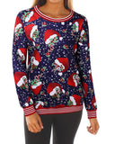 Women's Santa Print Casual Round Neck Sweatshirt