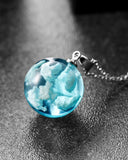 Blue Sky and White Clouds Transparent Spherical Necklace