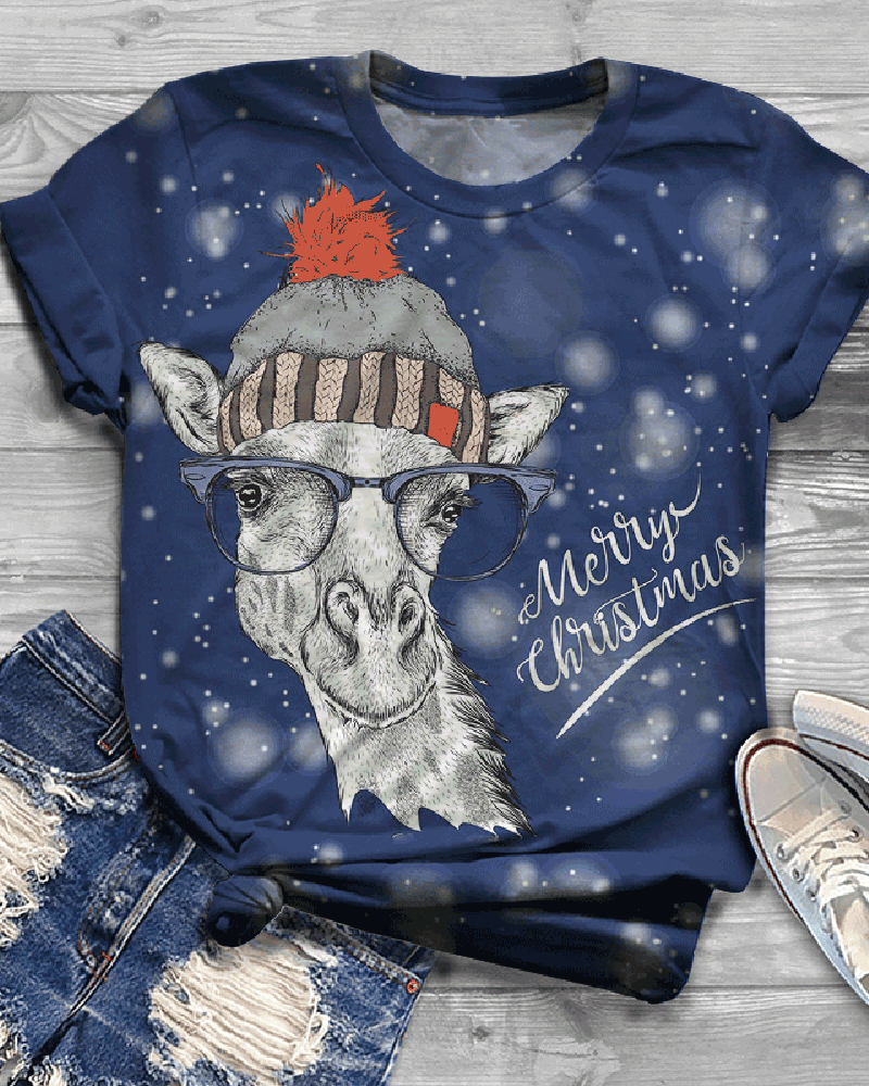 Christmas Casual Short Sleeve Printed Top T-shirt