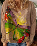Butterfly Print Round Neck Loose Blouse