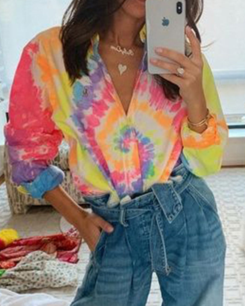 Loose Long Sleeve Printed Shirt Top