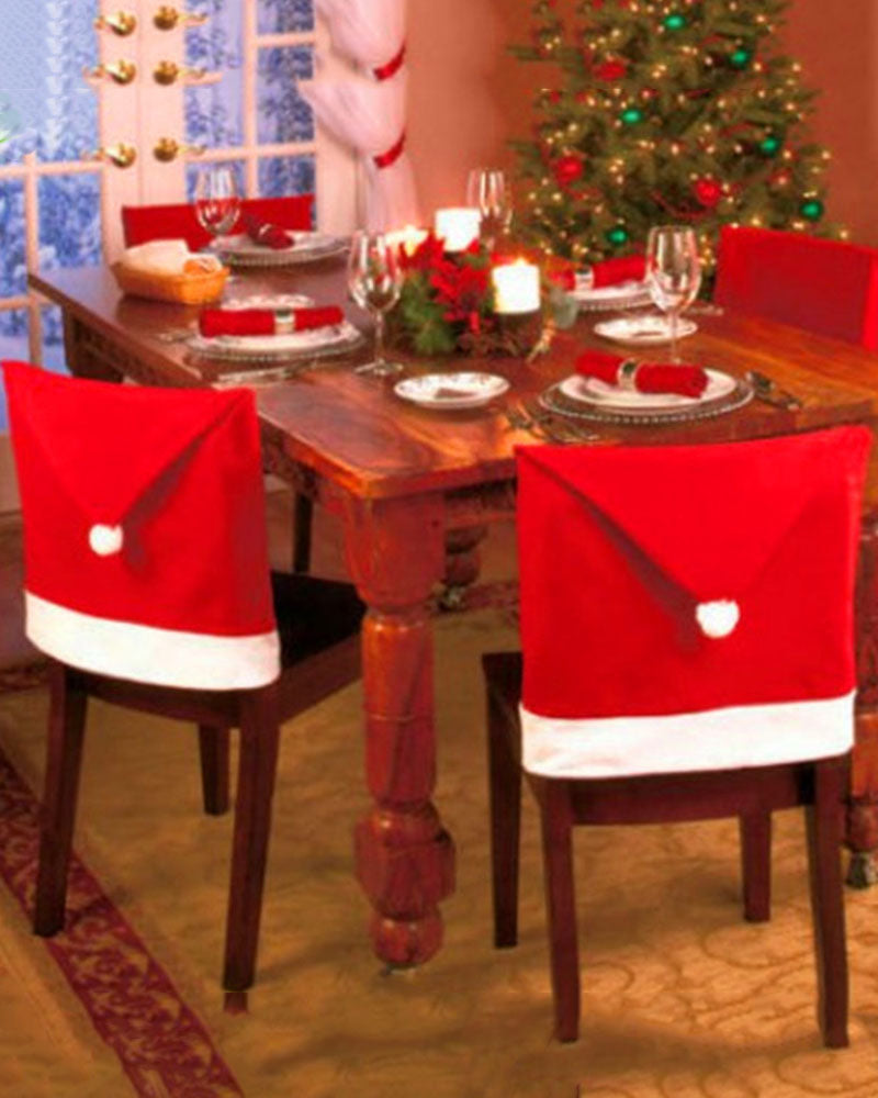 Christmas Decorations Ordinary Non-Woven Chair Cover Hat Cover