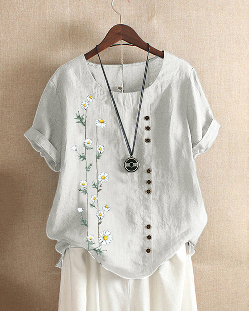 Casual Loose Printed Cotton Asymmetry Blouse