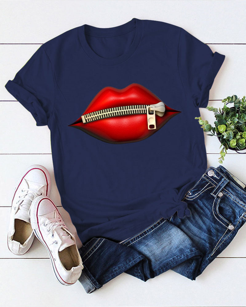 Lips Print Short Sleeve Top