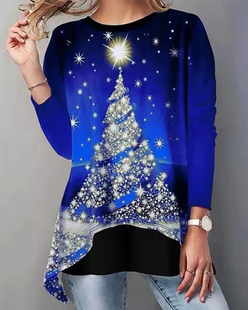 Christmas Tree Print Round Neck Loose T-shirt
