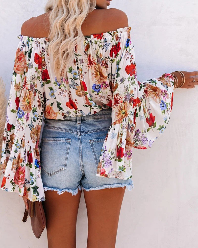 Floral Flared Sleeve Waisted Chiffon Shirt