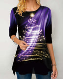Women's Christmas print round neck long sleeve T-shirt