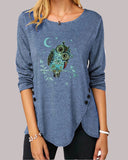 Irregular Hem T-shirt with Owl Print