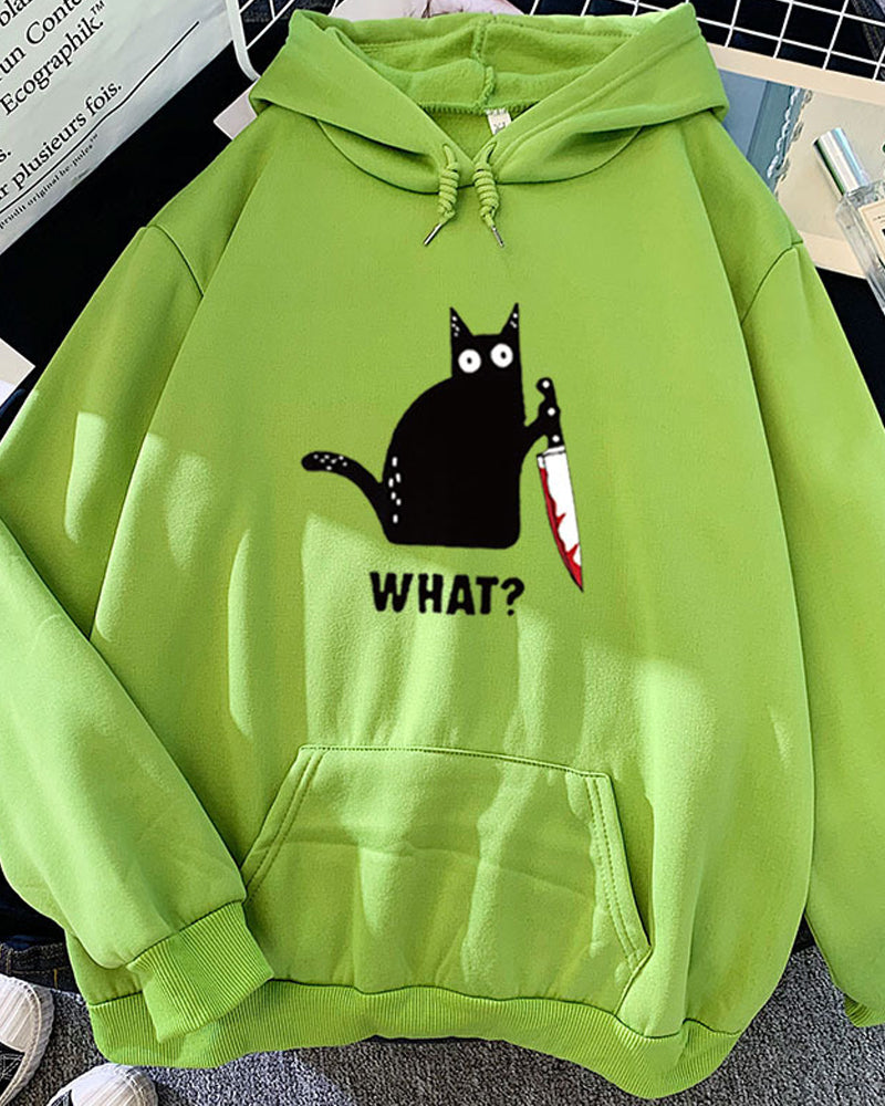 Candy Color Print Black Cat Hoodie