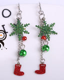 Christmas Scallion Powder Hollow Snowflake Earrings