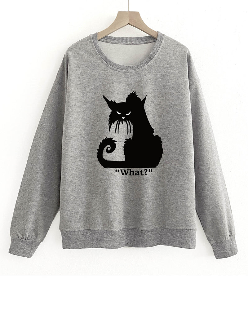 Cat Print Pullover Sweater
